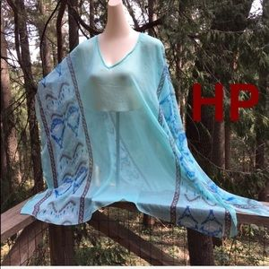Other - Sheer chiffon pull over poncho,pale turquoise,HP